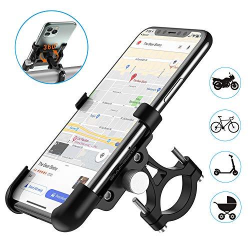 WACCET Fahrrad Handyhalterung mit 360°Drehbarer, Aluminium Motorrad Handyhalterung für iPhone,Galaxy, Huawei & GPS Device, Smartphone Halterung für Motorrad/Scooter/Rennrad/MTB/Kinderwagen (Schwarz)
