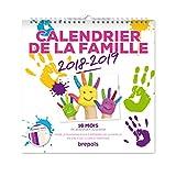 Brepols - 1 Calendrier Planning Familiale 16 Mois - Du 16-08-2018 au 31-12-2019 - 30 x 30 cm