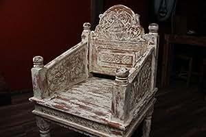 Fauteuil Trône Chaise, Fauteuil, bois, massif, blanc, beige, cérusé