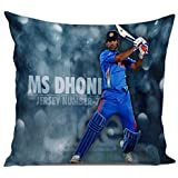 Dream Weaverz Trendy 3D Printed Cushion Cover In 16*16 Inch With Velvet And Dupion For Comfort And Style- MS Dhoni Print (Multicolour)