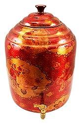 IndianArtVilla Copper Red Designer Water Dispenser Container Pot  15000 ML  For Storage Water Home Garden Beneficial For Health