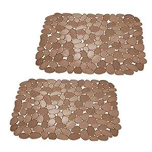 mDesign 2er-Set Spülbeckenmatte – auch als Abtropfmatte nutzbar – zuschneidbare Schutzmatte gegen Kratzer im Spülbecken – bernsteinfarben