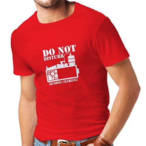 Männer T-Shirt Alkoholaufladung - Party Geschenkideen (X-Large Rot Weiß)
