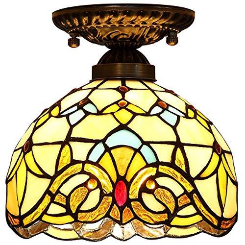 XYQS Tiffany Stil Europäische Retro Semi Flush Deckenleuchte Runde Barock Farbe Glas Handgefertigte Lampenschirm Geeignet für Wohnzimmer Schlafzimmer Restaurant Bar Gang Korridor Coffee Shop