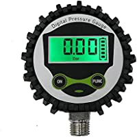"""Manómetro digital Uharbour de baja presión con conector inferior NPT de 1/4"""" y protector de goma, 0 – 15 psi, precisión 1% .F.S."""