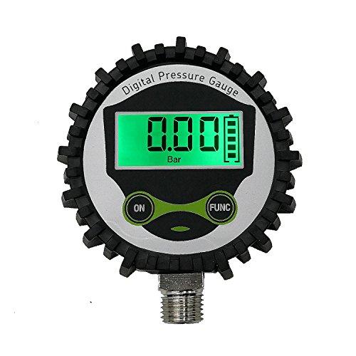 Digital Gas Manometer mit 1/4'NPT Anschlus unten und Gummi Protecter von uharbour, 0–200PSI, Genauigkeit 1% .f.s.