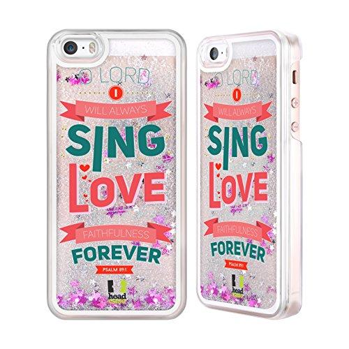 Head Case Designs Unmöglich Bekannten Versen Aus Der Bibel Silber Handyhülle mit flussigem Glitter für Apple iPhone 6 / 6s Singen