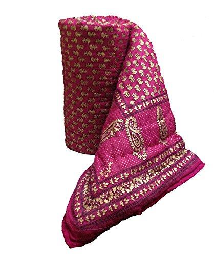 Mharo Rajasthan Traditional Pink Jaipuri Rajai/ Razai/ Quilt Single Side Printed -...