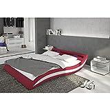 Polster-Bett 180x200 cm rot-weiß aus Stoff und Kunstleder Kombi mit