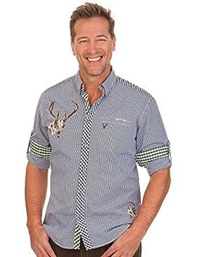 Trachtenhemd mit langem Arm - KONRAD - blau
