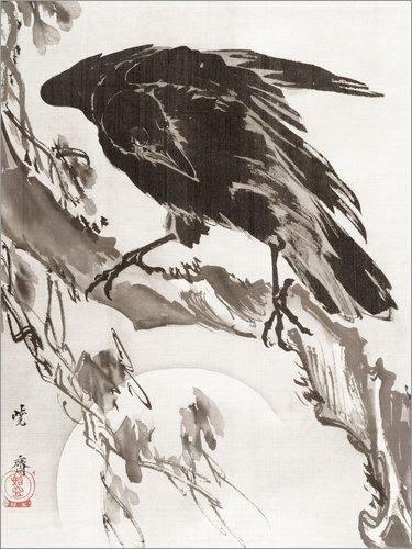 Poster 100 x 130 cm: Krähe und der Mond von Kawanabe Kyosai - Hochwertiger Kunstdruck, Kunstposter
