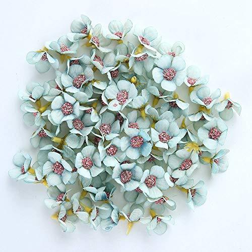 FUIY Künstliche Blume 50 Stücke 2 cm Multicolor Daisy Blume Kopf Mini Silk Künstliche Blume Für Krone Schrott Hochzeit Wohnkultur DIY Garland Kopfschmuck Blau China Blue Garland
