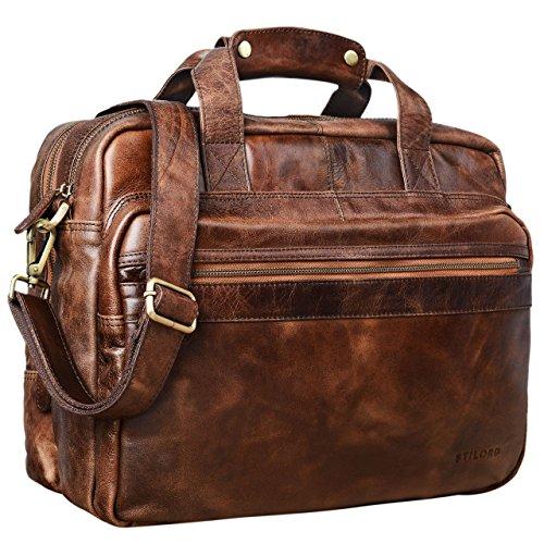 STILORD \'Adventure\' Lehrertasche Herren Damen Aktentasche Office Büro Schulter- oder Umhängetasche Businesstasche für Laptop Leder, Farbe:antik - braun