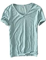 Insun Hommes V-Neck T-shirt en Coton Manches courtes Tees Printemps Eté Tops