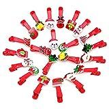 Dchaochao - Pinzas para el pelo, diseño navideño con dibujos animados, color rosa