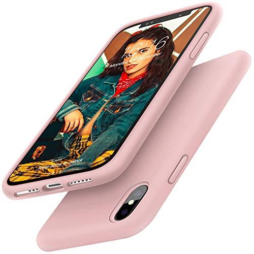 Gorain Hülle für iPhone X/XS, Flüssig Silikon Kratzfeste Schutzhülle rutschfeste Handyhülle Schale Stoßfestes Bumper Case Handyschale für iPhone X/XS 5.8 Zoll - Rosa Sand