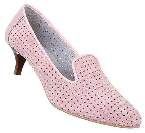 Damen Schuhe Pumps Bequeme Komfort Leder Rosa