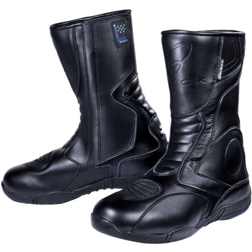 *Black Stealth Motorrad-Stiefel – Allwetter Touring – wasserdicht – Schwarz EU43*