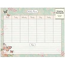 Planificador semanal para escritorio con organizador para hacer notas y diseño rosa con mariposas, 52hojas
