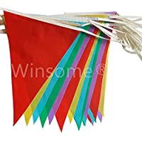 Winsome Multi Coloured PVC Plastic Bunting Banner 10 Metre Long 20 Flags Plain Pennant Double Sided Indoor & Outdoor Party Decoration