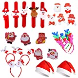 24 Pezzi Cappello di Natale, LED Antlers Fascia, Natale LED Spilla, Fascia di Natale, Cerchio Pat, per Natale Partito Regalo Bambini (Stile Casuale)