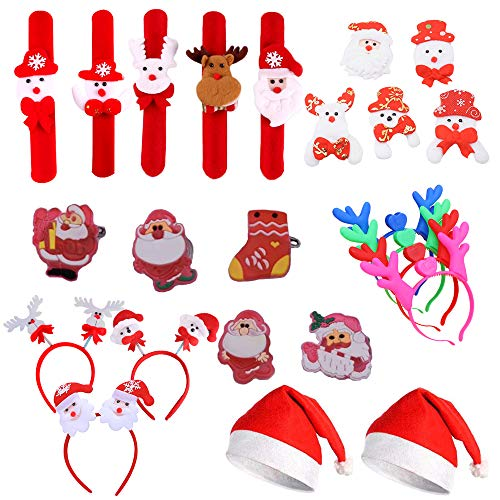 Amasawa 24 Stück Weihnachtsmütze, LED Geweih Stirnband, Weihnachten Brooch , Haarband, Pat Kreis, Für Weihnachten Party Geschenk Kind (Stil Zufällig)