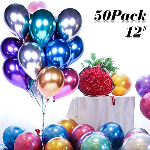 Nakeey Luftballons Metallic, 50 Stück Luftballons Bunt Helium Luftballons Metallic Luftballons Helium Balloons Partyballon, Farbige Ballons, Bunte Ballons für Geburtstagsfeiern,Party,Hochzeitsfeiern
