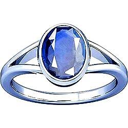 AKSHAY GEMS 7.25 Ratti Blue Sapphire Ring ( Nilam / Neelam stone Silver Ring ) 100% Original AAA Quality Gemstone