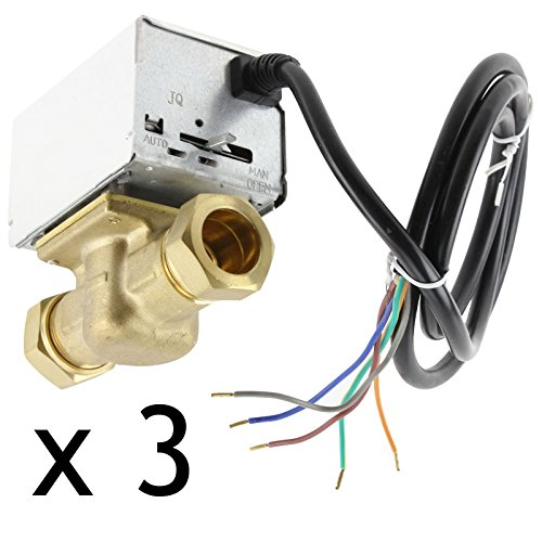 3 Heizung Pack (spares2go 22mm Motorisierte 2Port Inline Zone Ventil für Heizung/Boiler Systeme (Pack von 3))