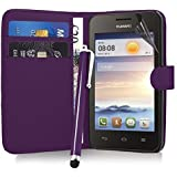Excellent Accessories� Huawei Ascend Y330 - Purple Exclusive Leather Easy Clip On WALLET / FLIP Case / Cover / Pouch With Card Holders & Clear Screen Protector & Purple High Capacitive Stylus Pen
