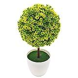 Kompassswc künstlich Topfpflanzen Zimmerpflanzen im topf Kunststoff Pflanzen Fake Mini Baum für Zimmer Büro Hochzeit (Grün mit Gelb)