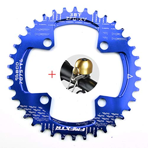 DUBAOBAO AM/XC Fahrrad 96BCD runde Einzelplatte, 32T / 34T / 36T / 38T Mountainbike Fahrradplatte Scheibe und Kurbel Furnier, blau,96bcdoval38T -