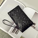 meizu88 Womens Faux Leather Mini Wristlet Phone Money Wallet Clutch Purse Makeup Bag (Black)