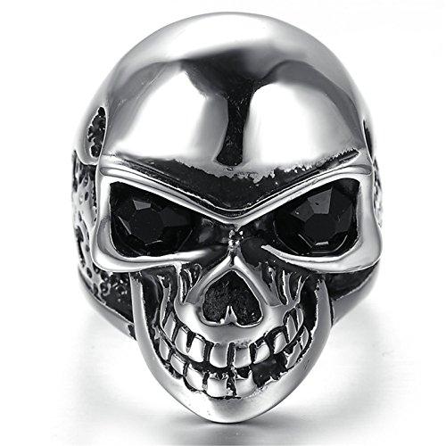 Adisaer Ring Herren Edelstahl Punk Ringe Schwarz Silber Einfach Design Schädel Kopf Ring Größe 60 (19.1) für Männer Gothic Bandring Hip Hop (Hip-hop-ringe Männer, Für Crown)