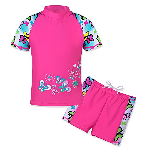 HUANQIUE Baby Girls 3-12 Years One Piece Swimwear Print Flower Swimsuit 50+UV Sun Protection Swimming Cosutme ButterflyShort 7-8Y