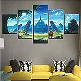 Gwgdjk Impression Moderne Art Cadre Modulaire Image 5 Pièces Légende De Zelda Personnages De Jeu Paysage Toile Peinture Décor Chambre Mur-30X40/60/80Cm,Without Frame