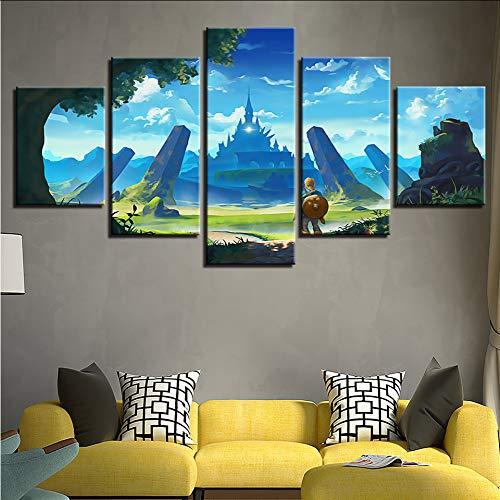 Gwgdjk Druck Moderne Kunst Modulare Rahmen Bild 5 Stücke Legend Of Zelda Spiel Charaktere Landschaft Leinwand Malerei Dekor Raum Wand-20X35/45/55Cm,With Frame - Wand-poster-frames