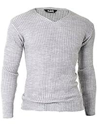D&R Fashion Hommes Sweatshirt Pull Pull côtelé à col en V Slim Fit légers vêtements décontractés