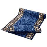 Stufenmatte Blau mit Aufwendiger Randmusterung | Qualitätsprodukt aus Deutschland | Gut Siegel | Kombinierbar mit Läufer | 65x23,5 cm | halbrund | Einzelne Matte