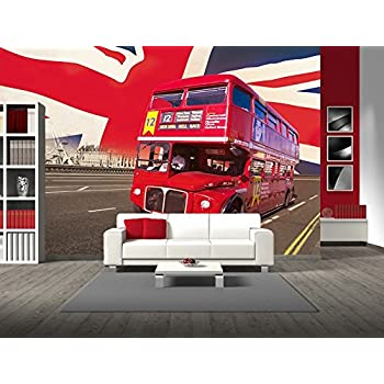 Perfect 1Wall Iconic London Double Decker Bus, London Bridge And Union Jack Flag  Wallpaper Wall Mural Part 22