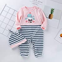DOLYKUI 0-24 Months Baby Outfits Set, Newborn Toddler Baby Long Sleeve Stripe Long Sleeve Jumpsuit +Hat Outfits Set, Kids Autumn Winter Christmas Warm Long Sleeve Clothes