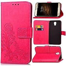 Guran® Funda de Cuero PU para UMI Rome / Rome X Smartphone Función de Soporte con Ranura para Tarjetas Flip Case Trébol de la suerte en Relieve Patrón Cover - Rosa roja