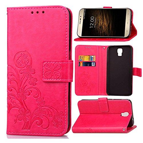 Guran PU Ledertasche Case für UMI Rome/Rome X Smartphone Flip Cover Brieftasche und Stent Funktionen Hülle Glücksklee Muster Design Schutzhülle - Rose rot