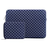 MOSISO Sleeve Hülle Tasche Kompatibel 2018 MacBook Air 13 A1932, 2018/2017/2016 MacBook Pro 13 Zoll (A1989/A1706/A1708), Surface Pro 6/5/4/3, Diamant-Muster Neopren Tasche mit Klein Fall, Navy Blau