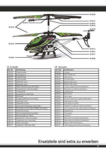 Jamara 038150 - Gyro V2 2,4G - Turbo, flexible Rotorblätter mit Winglets, robustes Aluchassis, Motorschutz bei blockierten Rotorblättern, welchselbarer LiPo-Akku, Licht ein / aus, Demomodus - 8