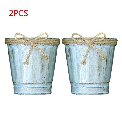 kleine eimer eimer mit dekorativen hand stricken bowknot mini metall blumentopf behälter vintage balkon garten pflanzer rustikalen stift bleistifthalter dekoration - natürliche blau (Kleiner Speicherkorb)