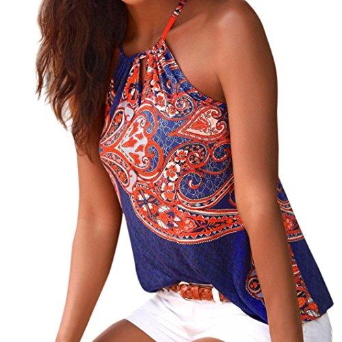 Mujer Blusa verano,Sonnena ❤️ ❤️ sexy off hombro blusa con tirantes Patrón de nacional estilo estampado sin manga casual moda traje de verano fresco (L, DEEPAZUL)