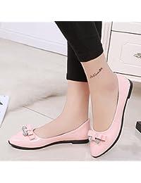 Damen Ohne Absatz Blend-Materialien Flache Schuhe mit Knoten, Golden-Schleife, 35.5 AalarDom