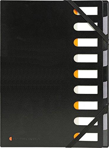 Exactive Ordnungsmappe mit Gummiband / Schwarzer Ordner mit vielen Funktionen und 9 Fächern, perfekt für unterwegs / Organizer (32,8 x 24 cm)