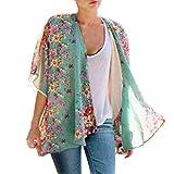 Cardigan Haut pour Femmes, Toamen Boho imprimé floral Kimono en mousseline de soie Mode du quotidien Confortable (XL, Bleu)